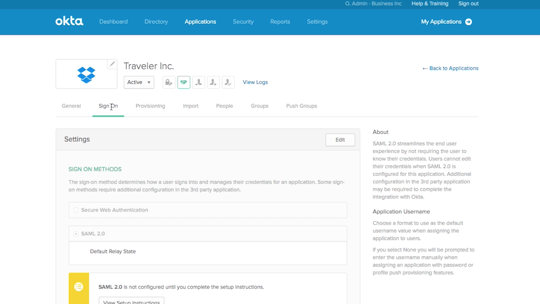 Okta configure l'authentification pour Dropbox