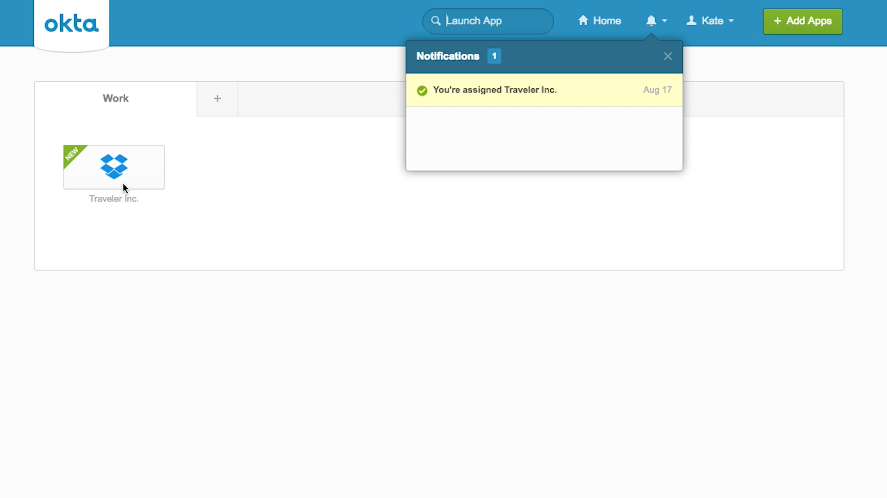 Access Dropbox Business from Okta console