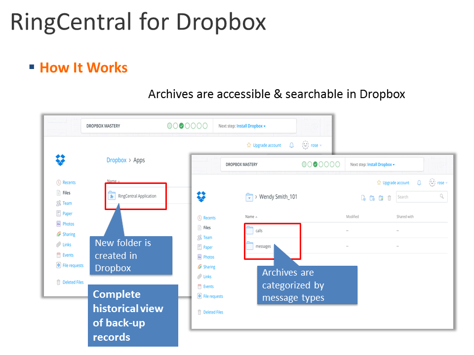RingCentral Integration - Dropbox