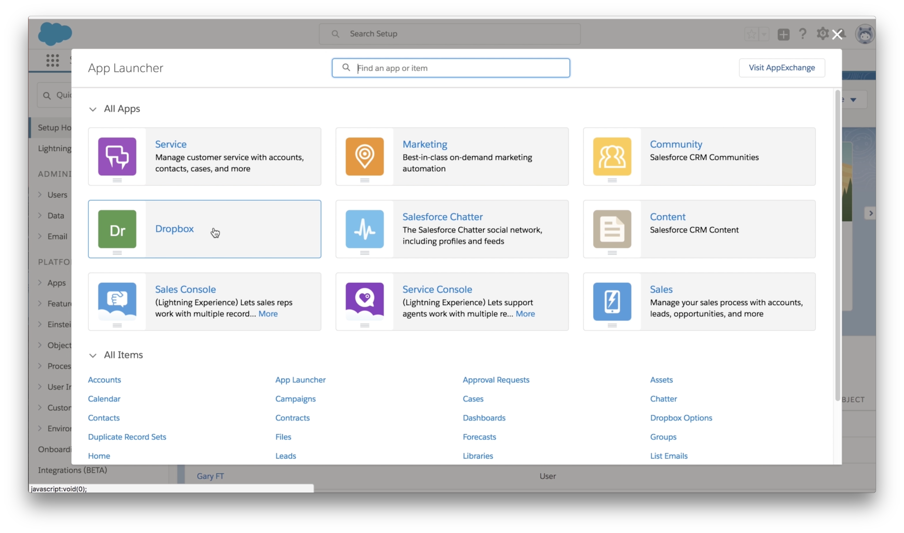 Dropbox app available in Salesforce