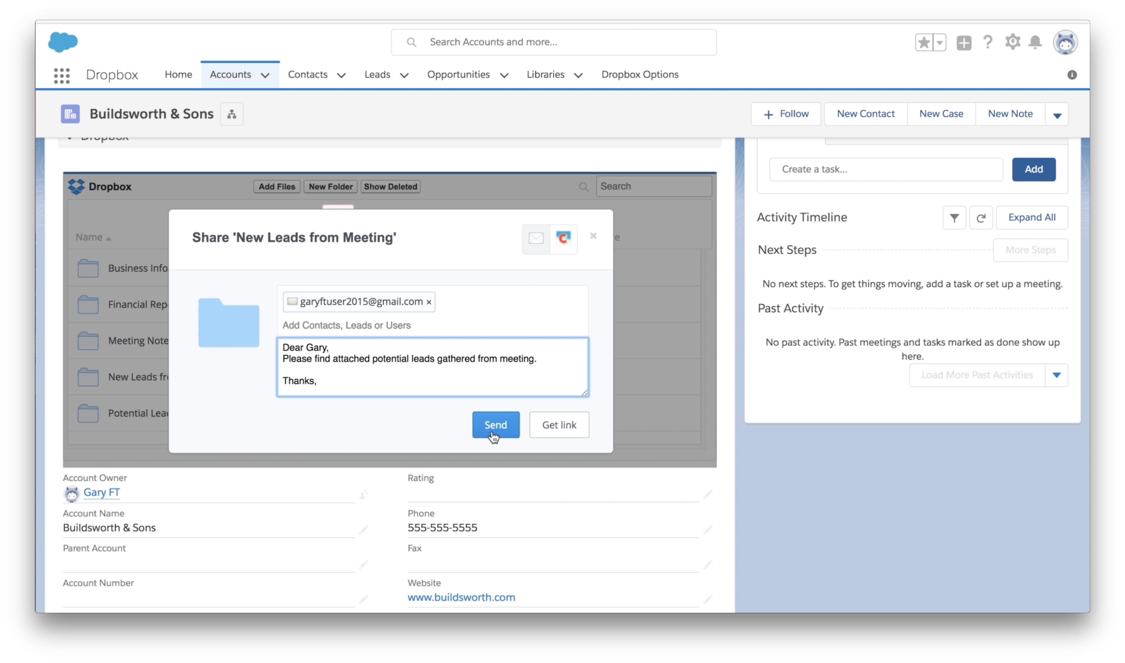 The Dropbox app in Salesforce