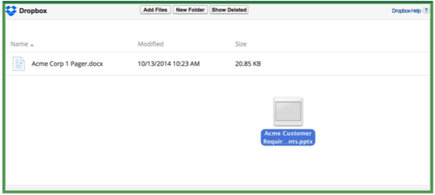 Drag and drop files into Dropbox for Salesforce