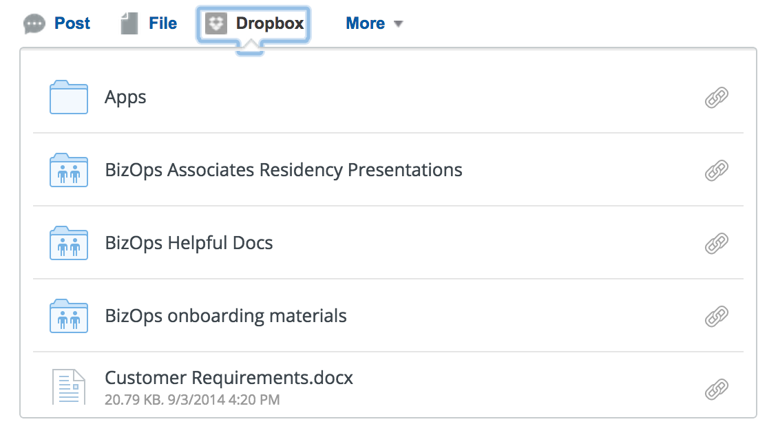 Akses Dropbox daripada Chatter juga