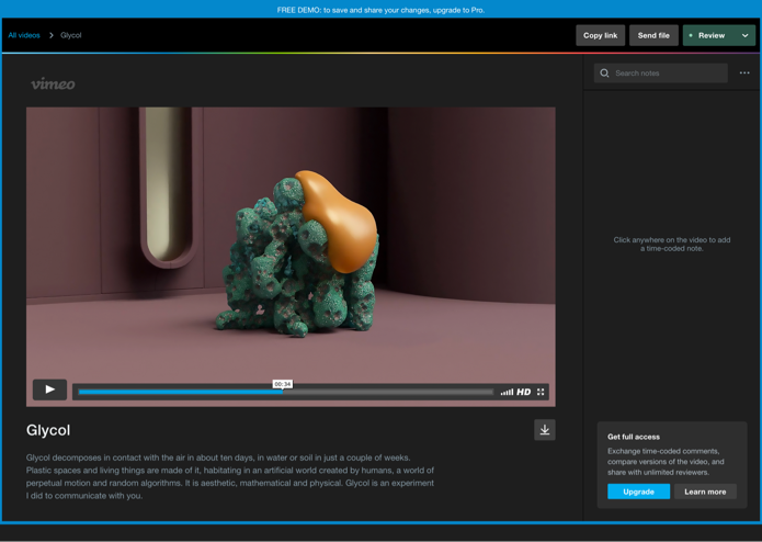 Image showing video review in Vimeo