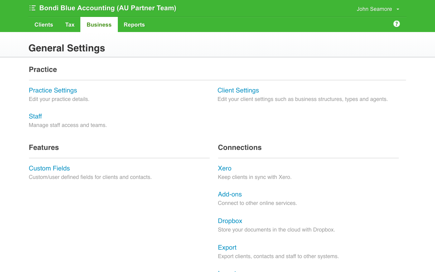Xero settings