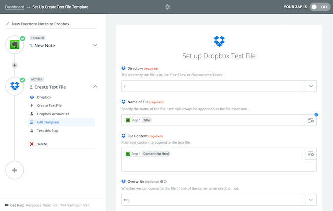 Zapier: Evernote to Dropbox