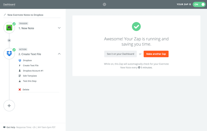 Zapier: Evernote to Dropbox complete
