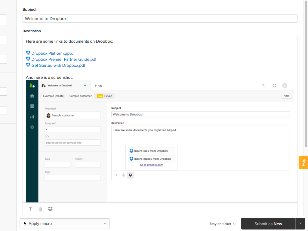 Dropbox documents in Zendesk reply