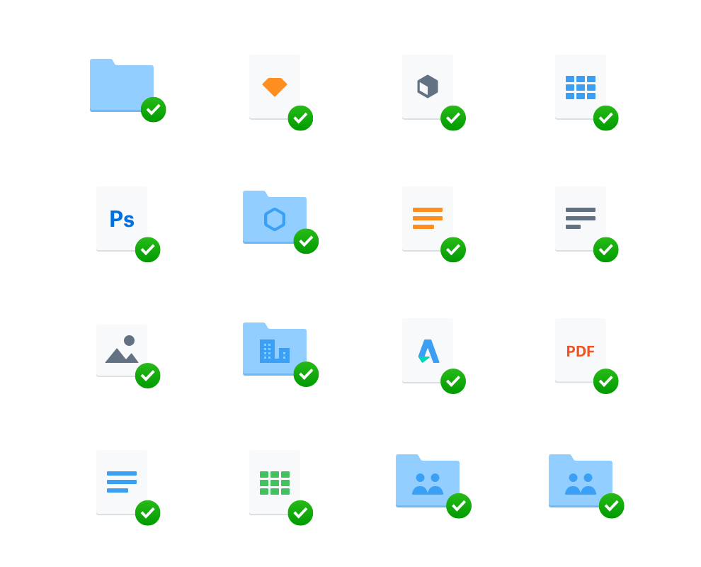 Various folders and icons lined up in a 4 by 4 grid.