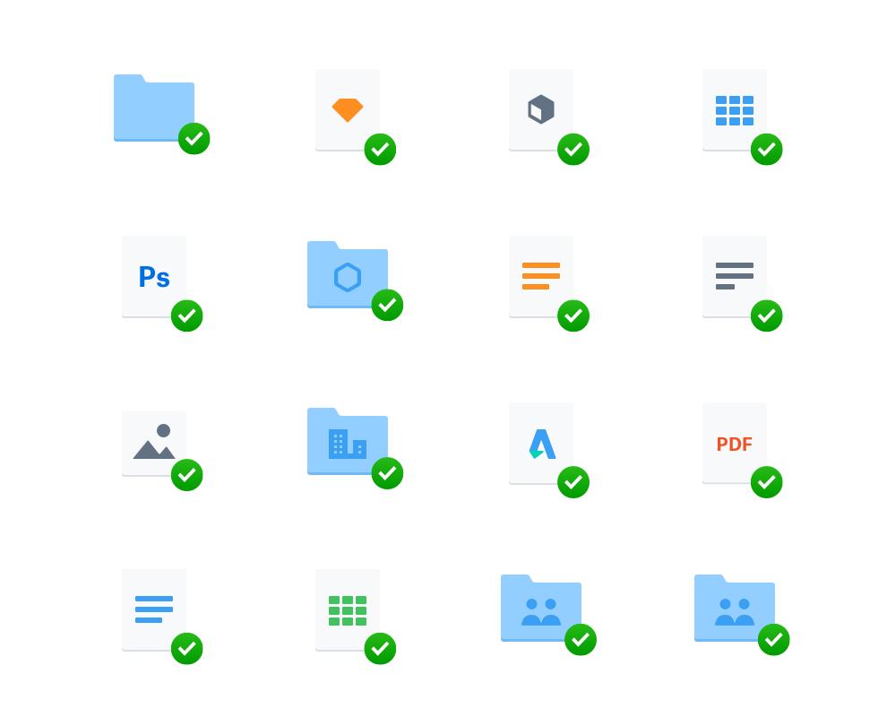 Varias carpetas e iconos alineados en una cuadrícula de 4 por 4.