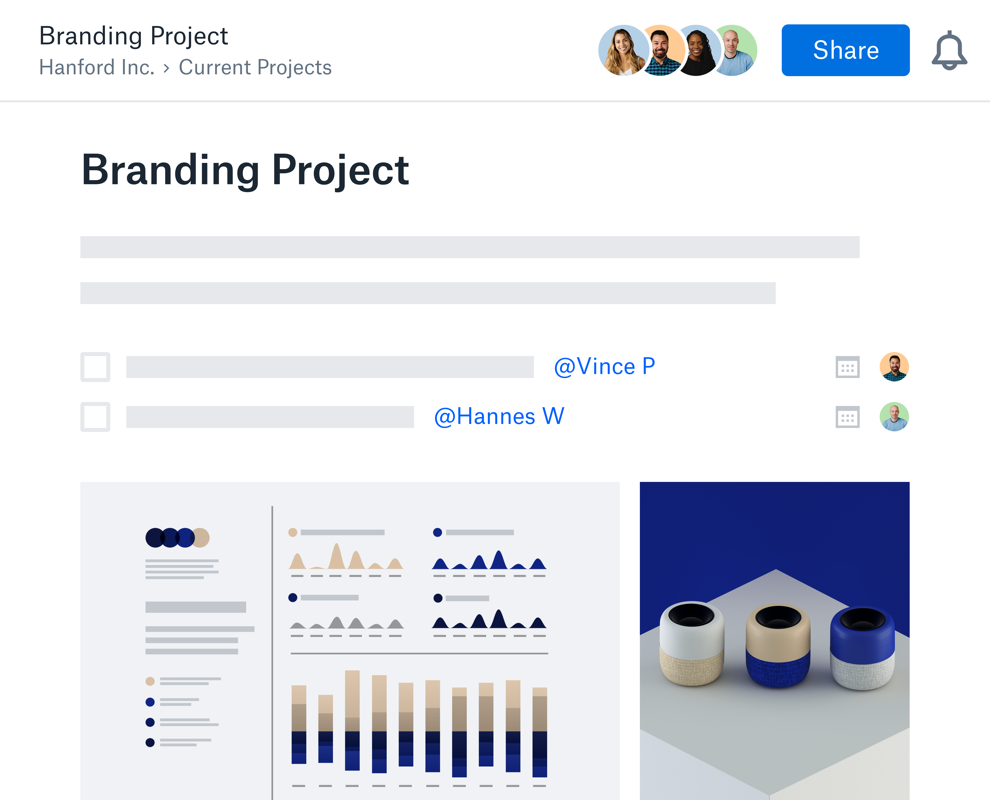 Pantalla de descripción general para un proyecto de personalización de marca que muestra gráficos e imágenes.
