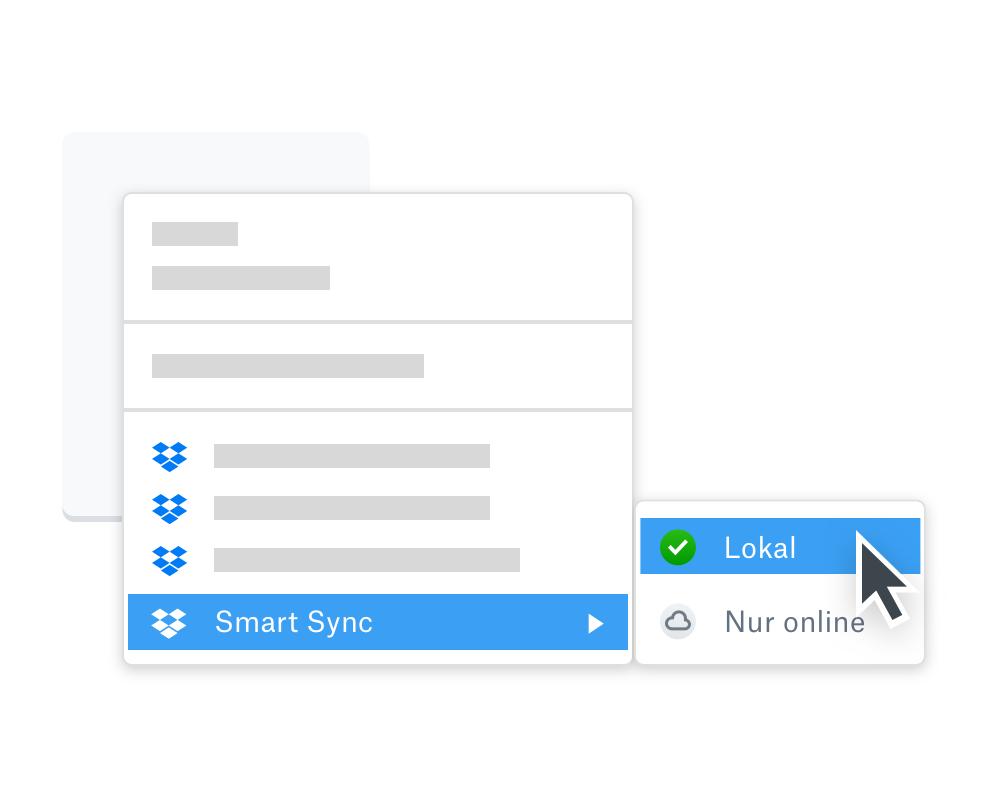 """Jemand hält den Mauszeiger über das Smart Sync-Optionsmenü, das die Synchronisierungsoptionen """"Lokal"""" oder """"Nur online"""" bietet"""
