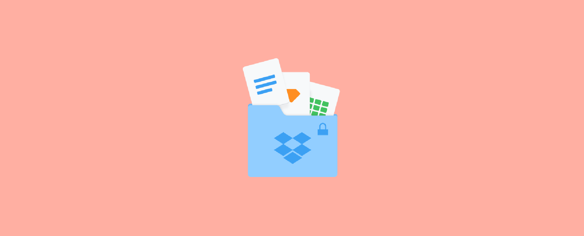 3 documents sticking out from the top of a Dropbox folder with a padlock on it