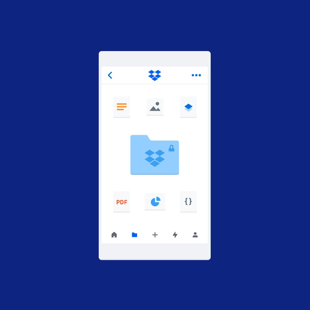 Мобильный телефон с заблокированной папкой Dropbox и различными типами файлов.