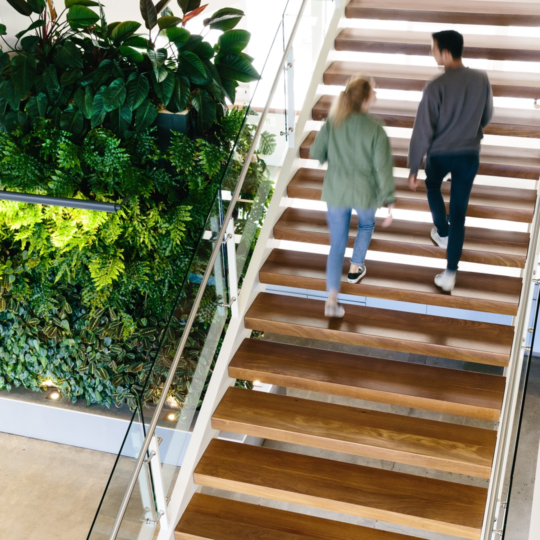 Woman and man walking up steps in office