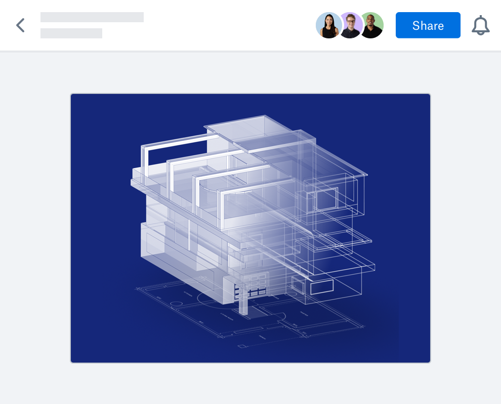 Preview of building CAD rendering in Dropbox, with icons for users with access to file, and Share and notification buttons