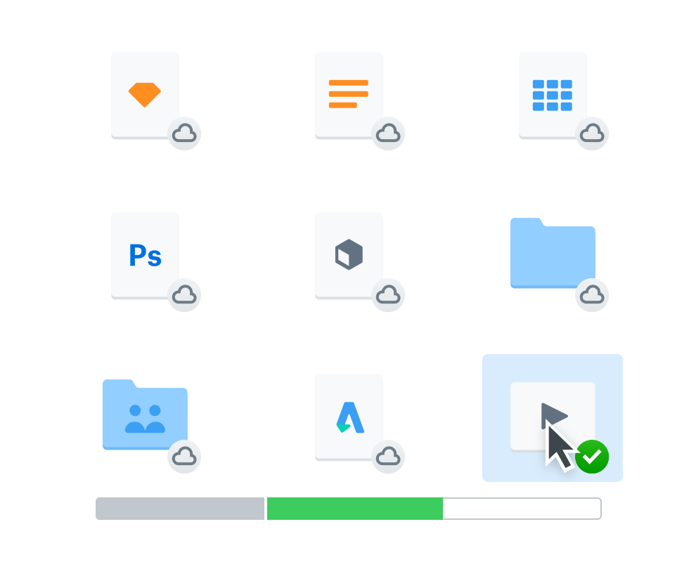 9 icons for files and folders in Dropbox. 8 have online only cloud image overlay; 1 has synced green checkmark overlay