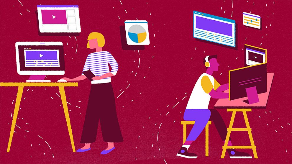 Illustration showing a woman working on a computer at a standing desk and another working on a computer while wearing headphones. Abstract images of a video, a pie chart, and other work files float in the background.