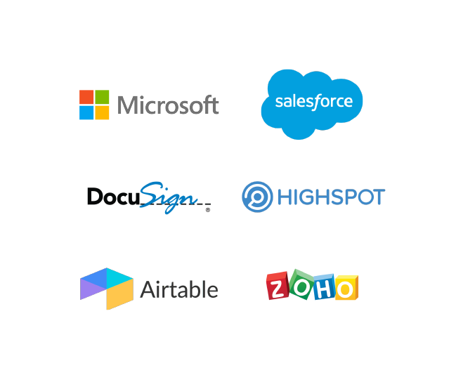 Microsoft, Salesforce, DocuSign, Highspot, Airtable, and Zoho logos