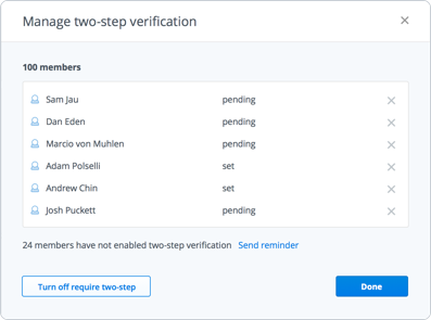 Manage two-step verification