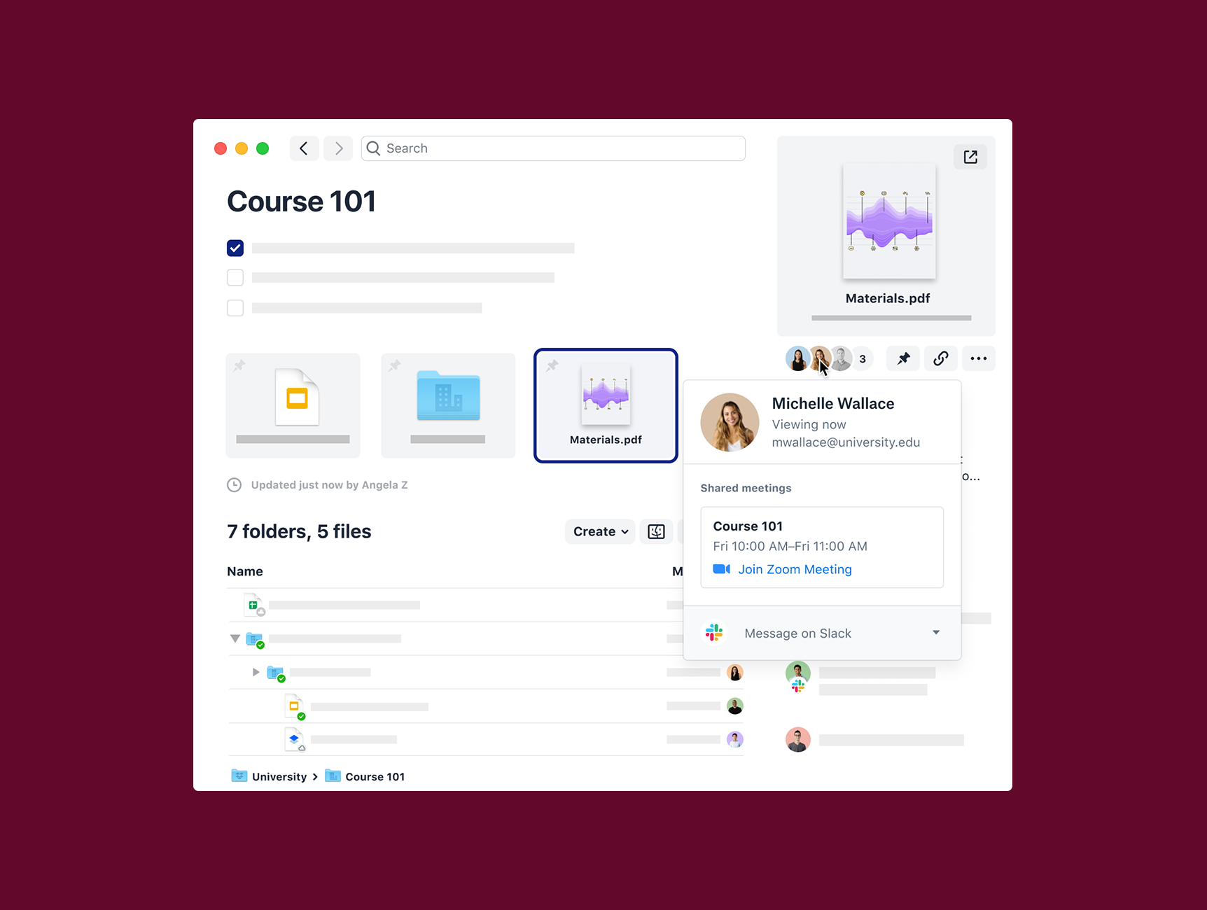 Integraciones de Dropbox Education con Slack Zoom