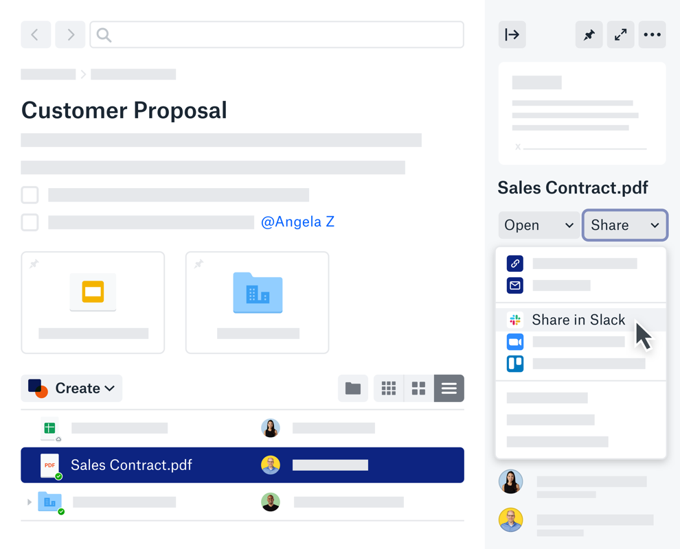 A customer proposal with an option to share a sales contract through a slack integration