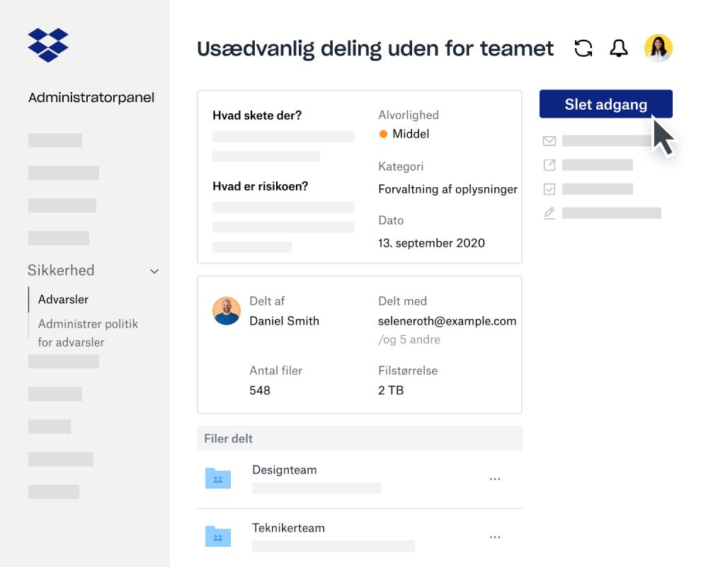 Dashboardet Indsigt for Enterprise i administratorpanelet i Dropbox Business