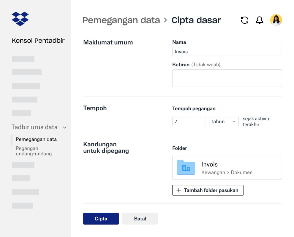 Medan borang untuk mencipta dasar pengekalan data dalam Konsol Pentadbir Dropbox Business