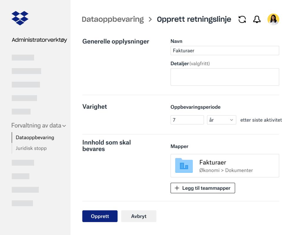 Skjemafelter for å opprette retningslinjer for dataoppbevaring i administratorverktøyet for Dropbox Business
