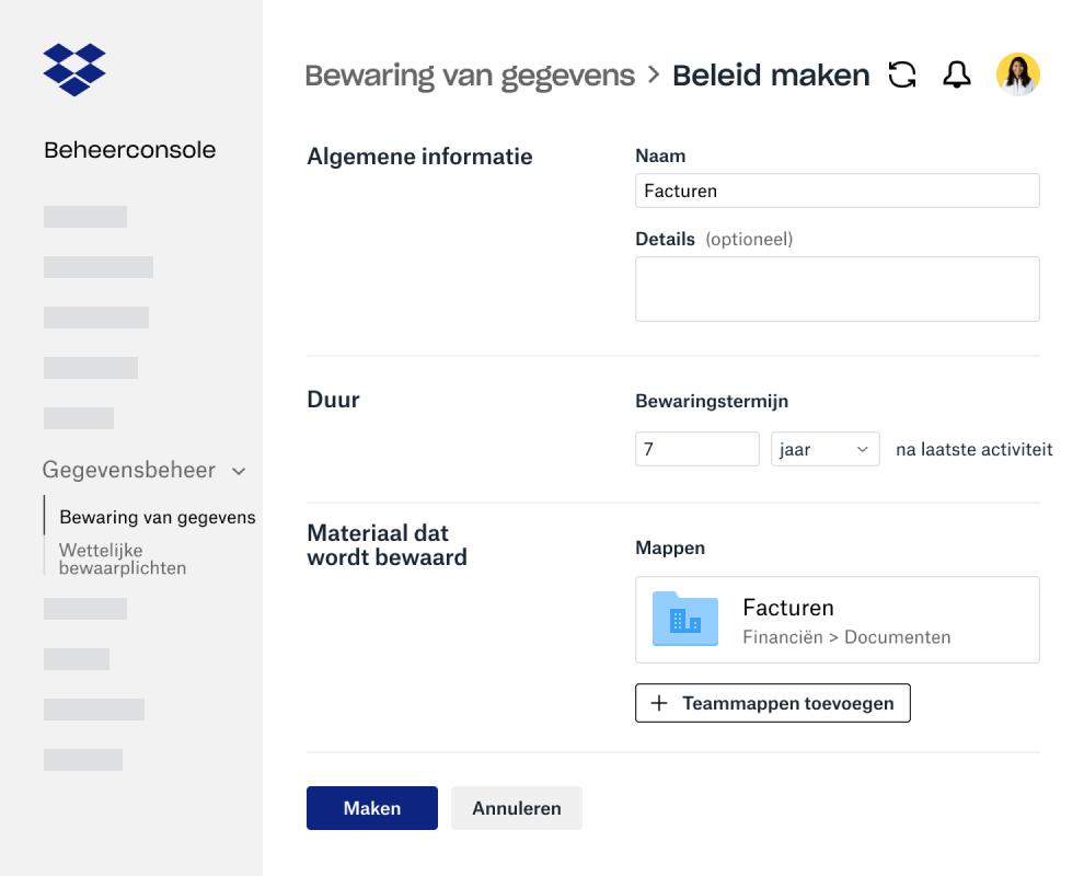 Velden voor het aanmaken van een beleid voor gegevensopslag binnen de beheerconsole van Dropbox Business