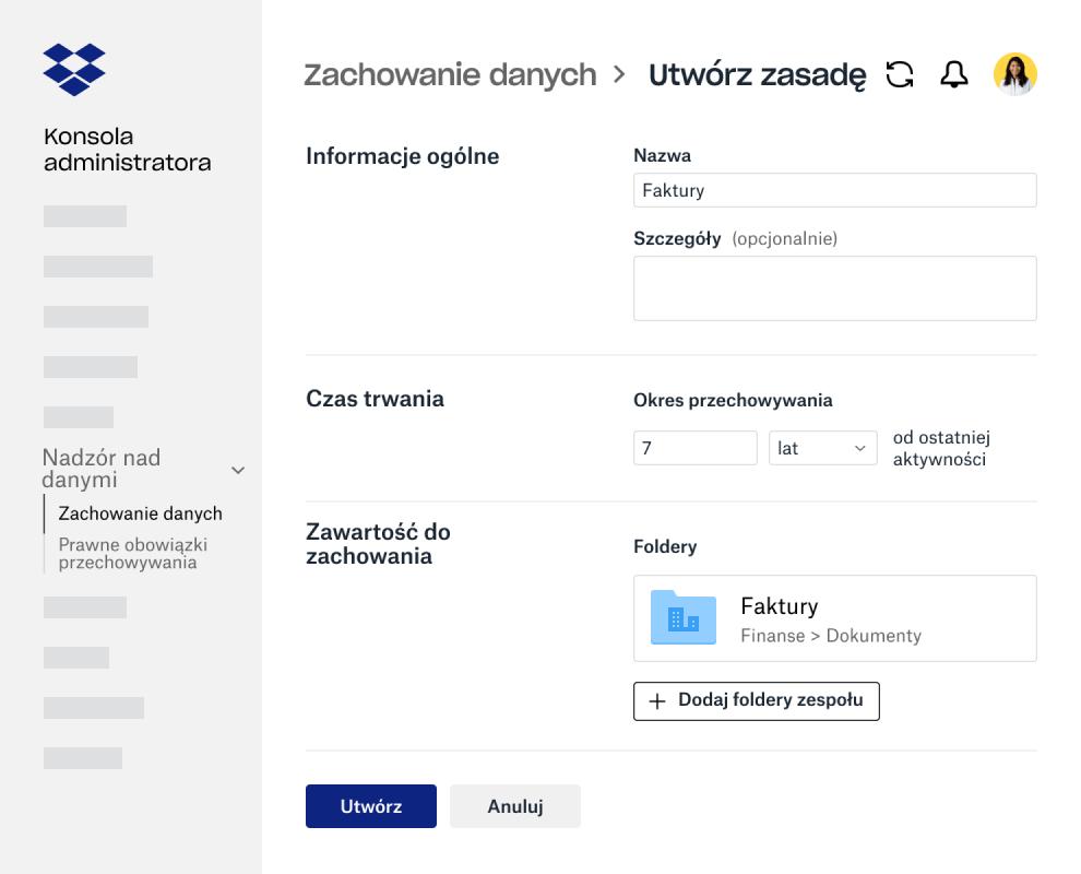 Pola formularza do tworzenia zasad retencji danych na Konsoli administratora w Dropbox Business