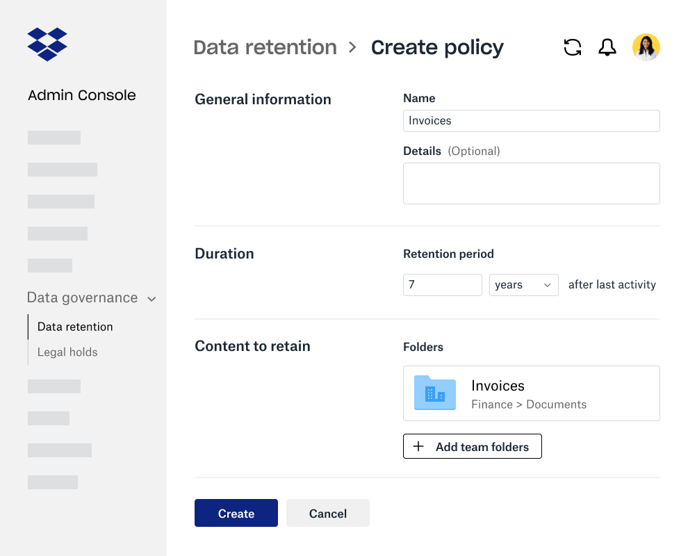 Form fields for creating data retention policy within the Dropbox Business Admin Console