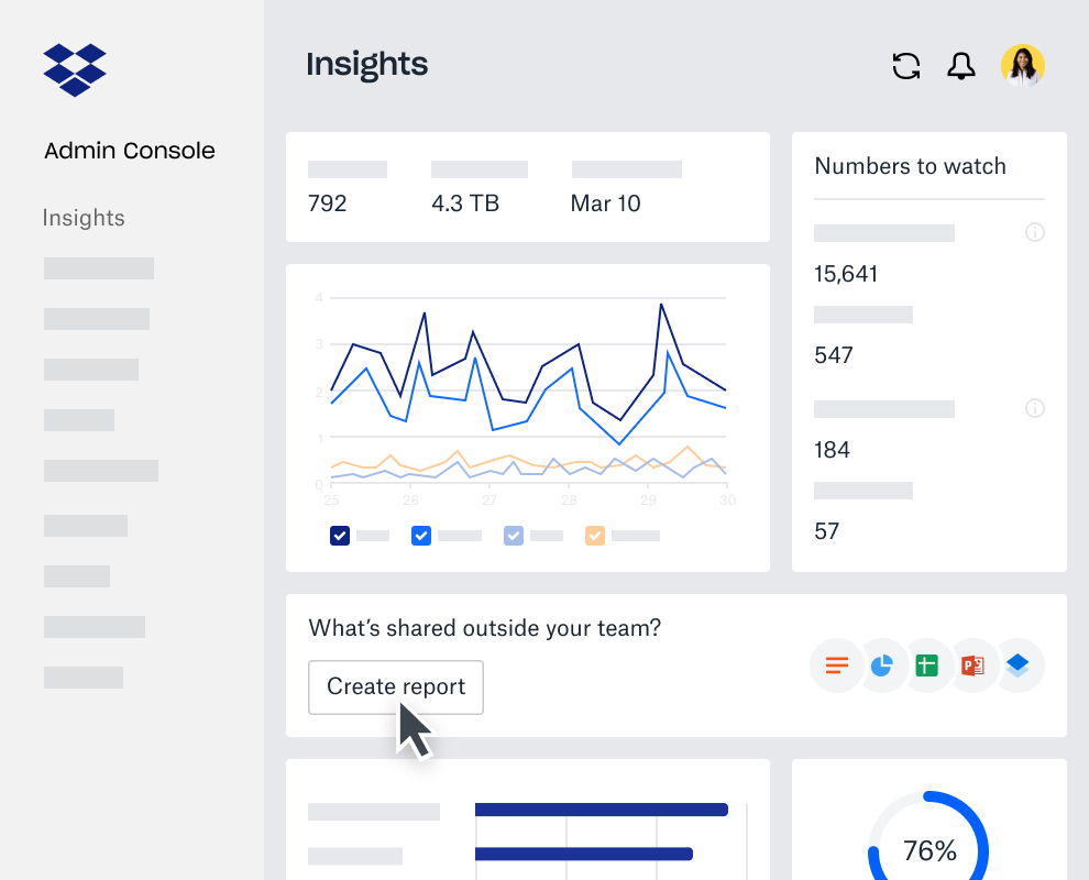 Enterprise insights dashboard within the Dropbox Business Admin Console