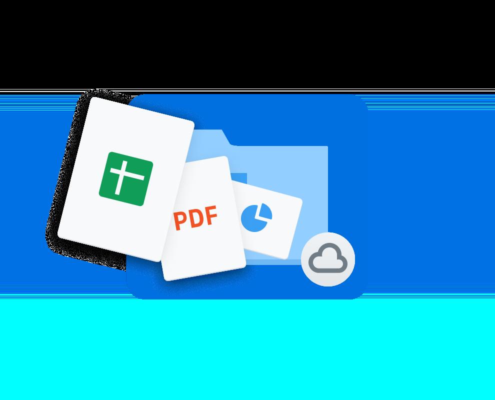 Dropbox-Ordner mit einem Cloud-Symbol. Darüber Symbole verschiedener Dateiformate.
