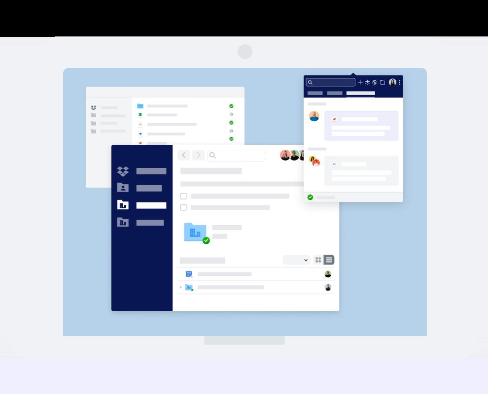 Verschiedene Dropbox-Oberflächen für die Kommunikation und Zusammenarbeit.