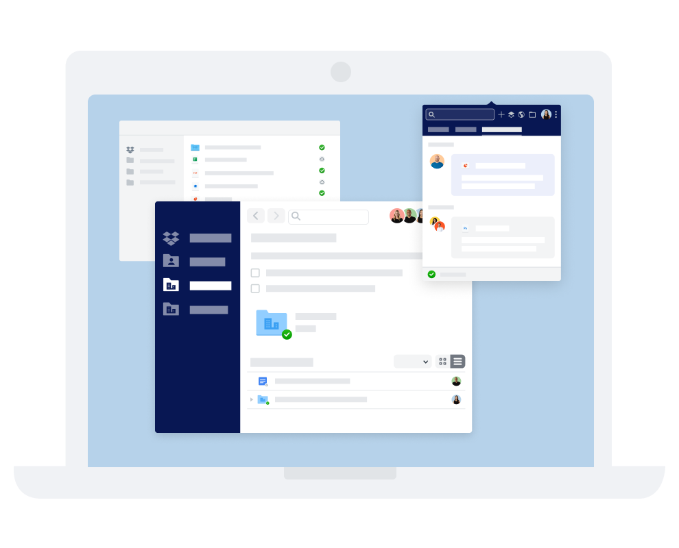 Dropbox의 다양한 의사소통 및 협업 인터페이스.
