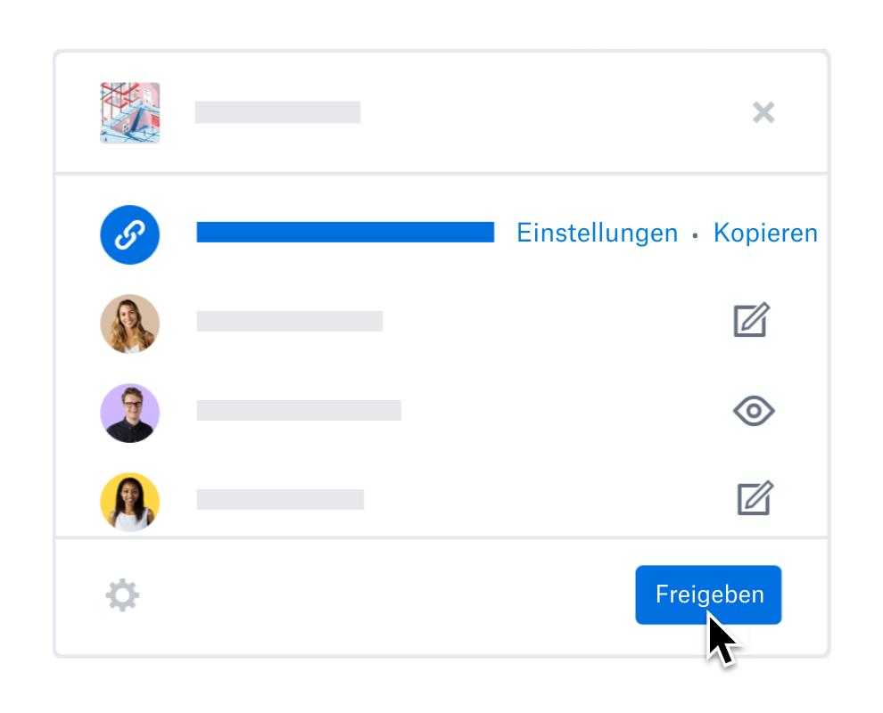 Nutzer, der die Freigabeeinstellungen für Teammitglieder in Dropbox aktualisiert.