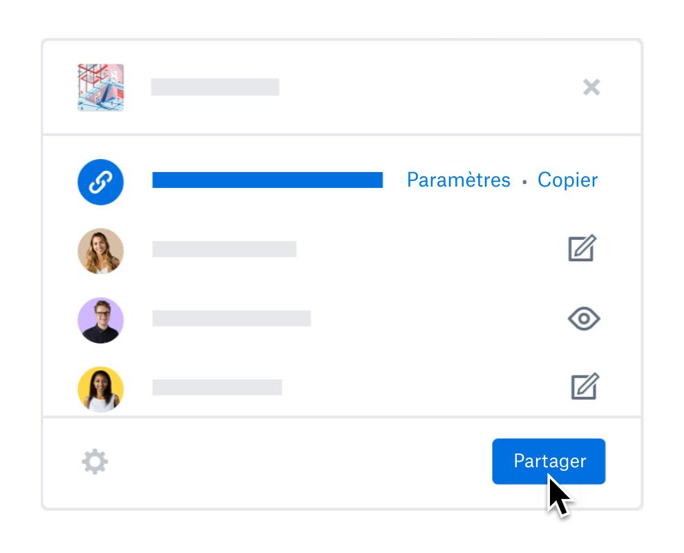 Utilisateur mettant à jour les paramètres de partage des membres de l'équipe dans Dropbox.