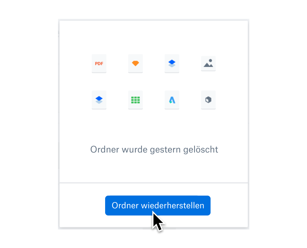 """Nutzer, der die Schaltfläche """"Ordner wiederherstellen"""" auswählt, um gelöschte Dateien wiederherzustellen."""
