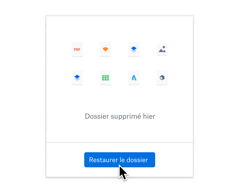 Utilisateur sélectionnant le bouton de restauration du dossier pour récupérer les fichiers supprimés.