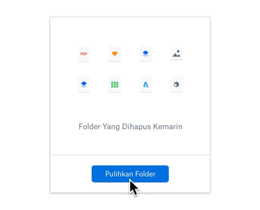 Pengguna sedang memilih tombol pulihkan folder untuk memulihkan file yang terhapus.