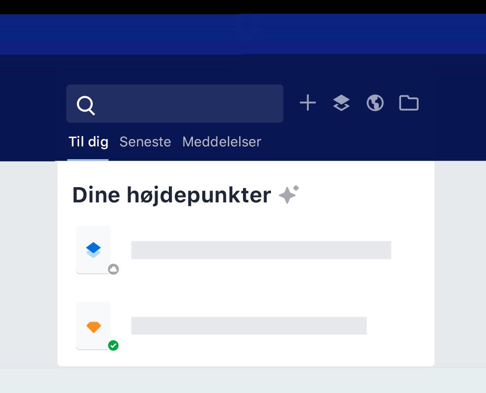 Fremhævningsfunktionen i Dropbox, der giver intelligente forslag til filindhold.