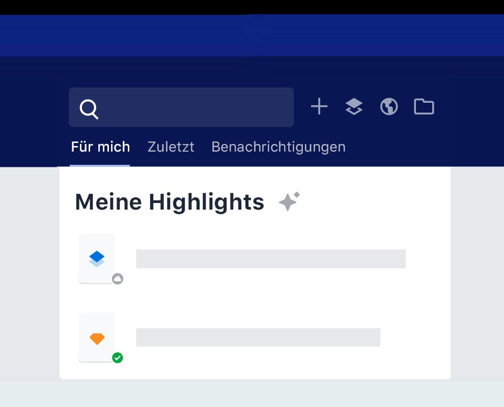 """Die Funktion """"Highlights"""" in Dropbox, die intelligente Dateivorschläge auflistet."""
