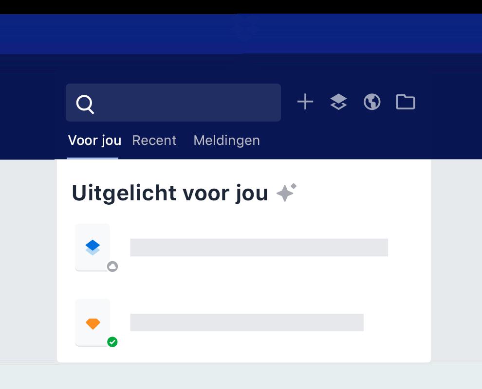 De highlight-functie van Dropbox geeft een overzicht van intelligente bestandssuggesties.