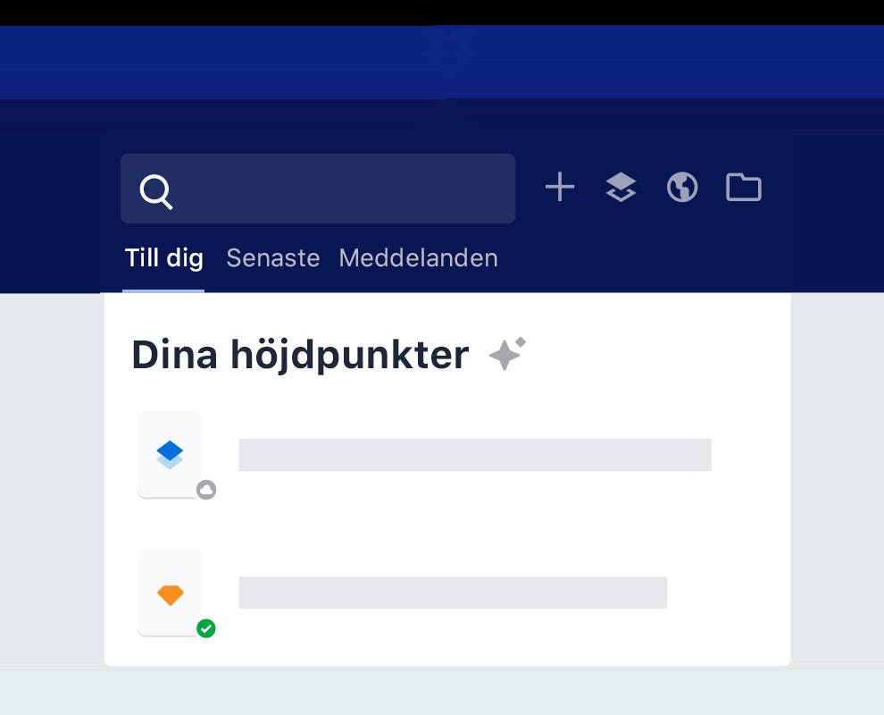 Dropbox markeringsfunktion visar förslag för intelligent filinnehåll.