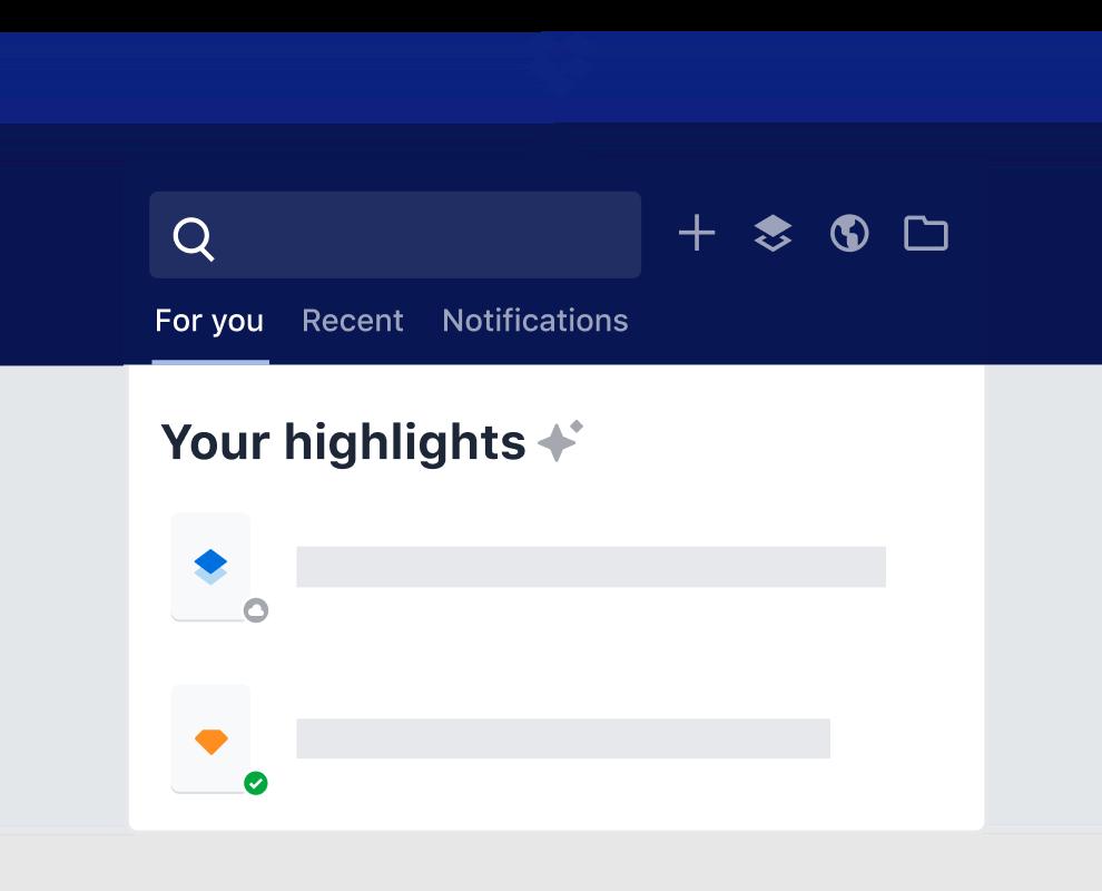 El Dropbox resalta la característica que enumera las sugerencias de contenido de archivos inteligentes.