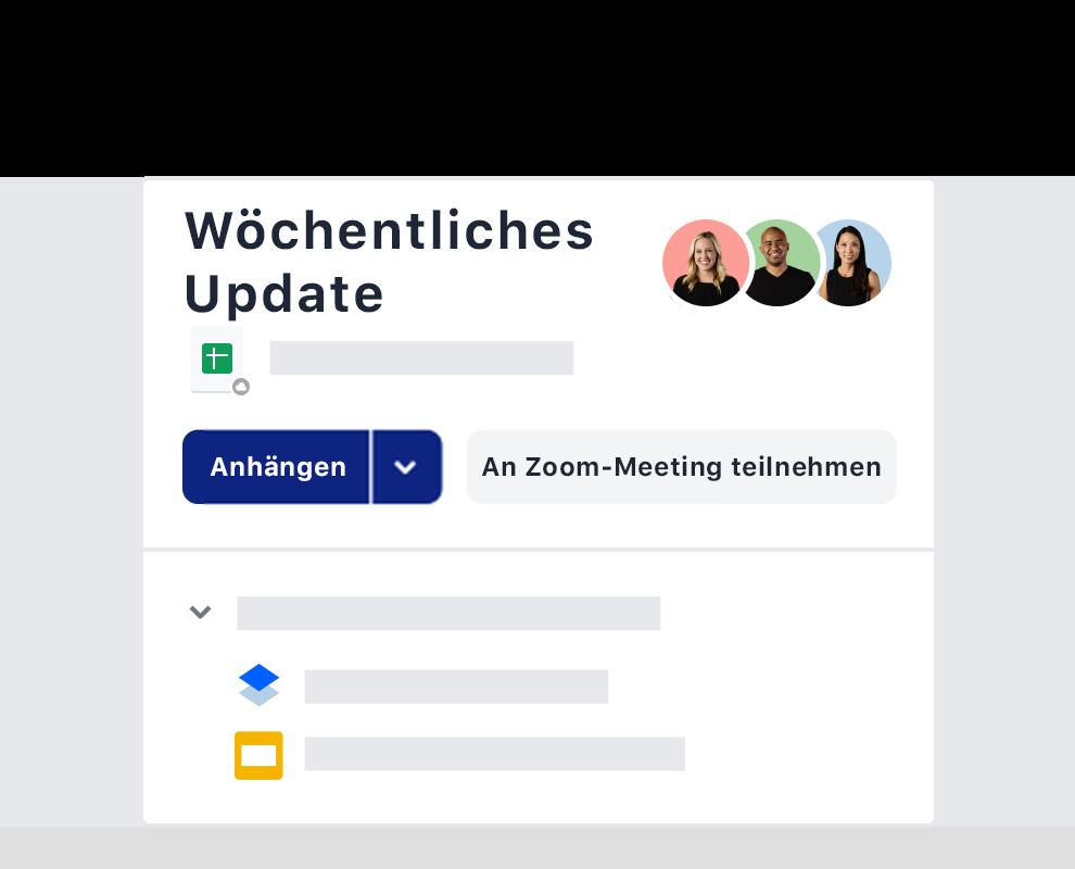 Ein Beispiel einer wöchentlichen Meeting-Einladung über die Zoom-Integration in Dropbox.
