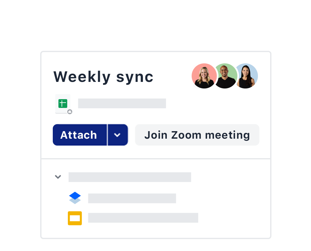An example of a weekly meeting invite using the Zoom integration on Dropbox.
