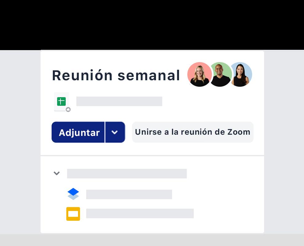 Ejemplo de una invitación a una reunión semanal usando la integración de Zoom en Dropbox.