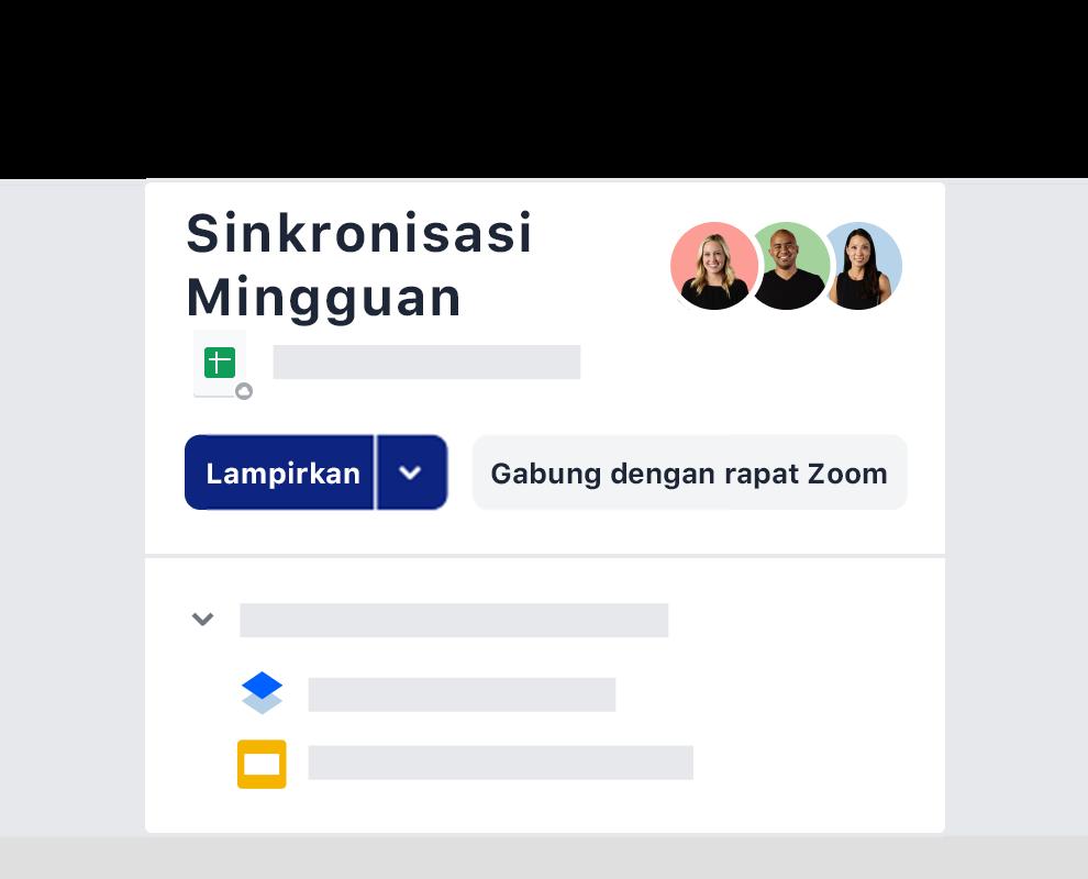 Contoh undangan rapat mingguan menggunakan integrasi Zoom di Dropbox.